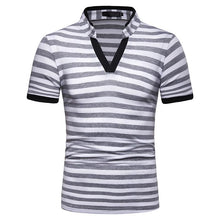 Load image into Gallery viewer, Men's V-neck Stripe Fashion Loose Short Sleeve POLOT Shirt