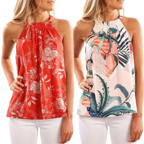 Sleeveless Flower Printed Tank Top