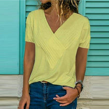 Load image into Gallery viewer, Short Sleeve Solid Color V-neck Top