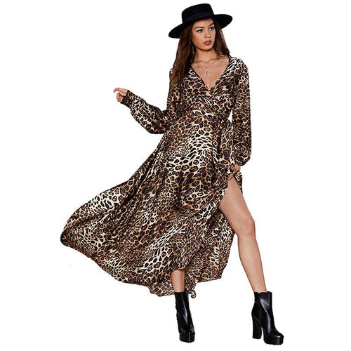 Women Sexy Leopard Long Sleeve Deep V-Neck Tie Waist Long Swing Beach Split Maxi Dress
