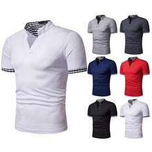 Load image into Gallery viewer, Men's Fashion Henry Collar Plaid Color Men's Short Sleeve POLOT Shirt