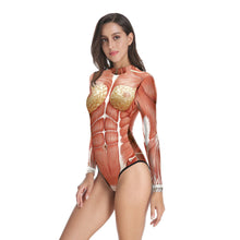 Load image into Gallery viewer, Halloween Realistic Human Body Tissue Print Women's One-piece Swimwear