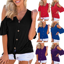 Load image into Gallery viewer, Women Button Down Cold Shoulder V Neck Short Sleeve Tops Blouse T-Shirt