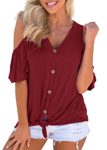 Women Button Down Cold Shoulder V Neck Short Sleeve Tops Blouse T-Shirt
