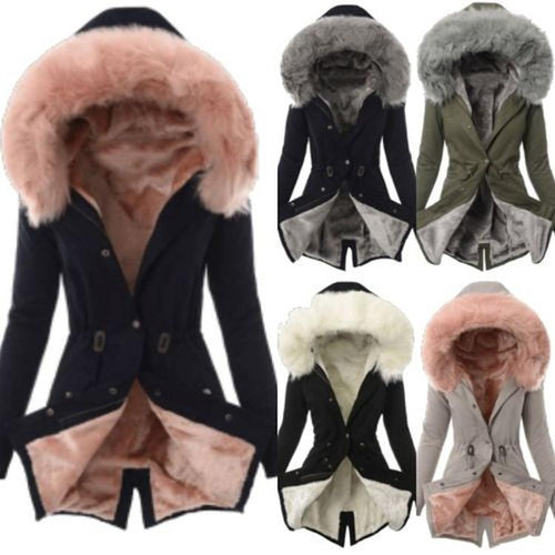 Women Snap Fastener Solid  Warm Winter Zip Hooded Coat Outerwear Jacket Overcoat