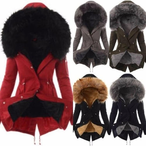 Women Slim-fit Warm Solid Color Split Hooded Zipper Winter Coats Jacket Outerwear Overcoat