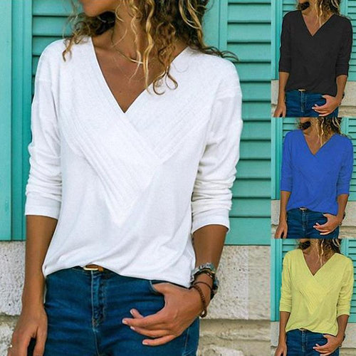 Long Sleeve Elegant Paneled V Neck T-Shirt