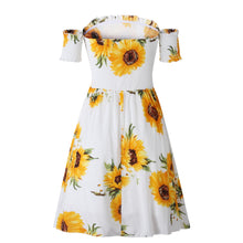 Load image into Gallery viewer, Fashion Print Ruffle Short Sleeve Off Shoulder Mini Dress