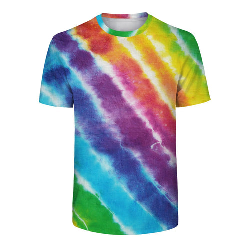 Tie Dye Rainbow Printed Short Sleeve Round Neck Casual T-shirt For Adults