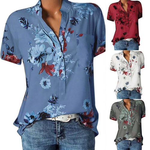 Floral Casual Stand Collar Short Sleeve Blouses