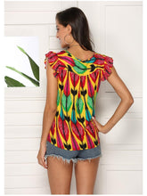 Load image into Gallery viewer, Round Neck Bohemian Printed women's T-shirt