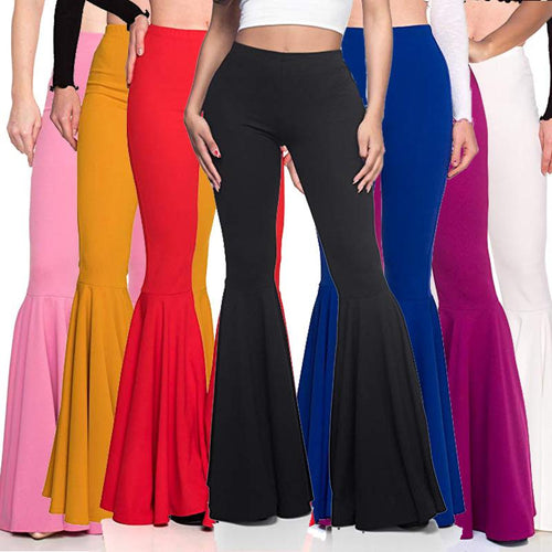 Women's Mermaid High Waist Casual Fashion Pleated Flare Pants