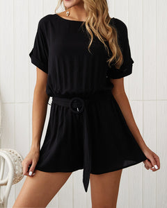 Casual Solid Color Romper Shorts