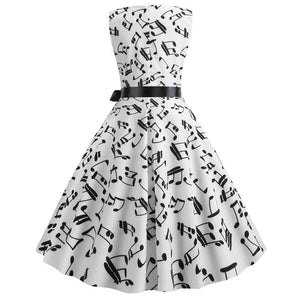 Thin 1950s Retro Vintage Cocktail Party Musical Note Print Swing Dress