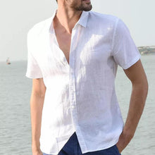 Load image into Gallery viewer, Plus Size Men's Stand Collar Foreign Trade Cotton Linen Short Sleeve Shirt