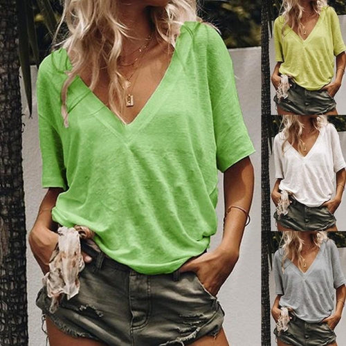 V-neck Short Sleeve Solid Color Casual T-shirt Blouse