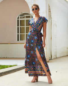 Casual Hot Holiday Print Sexy Maxi Dress