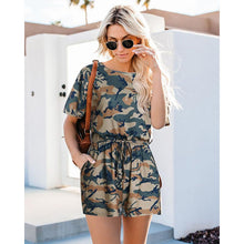 Load image into Gallery viewer, Camouflage Round Neck Elastic Waist Strap Short Sleeve Jumpsuit