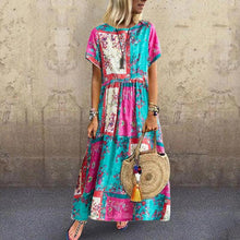 Load image into Gallery viewer, Fashion Cotton and Linen Printed Pleated Round Neck Short Sleeve Boho Dress