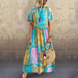 Fashion Cotton and Linen Printed Pleated Round Neck Short Sleeve Boho Dress