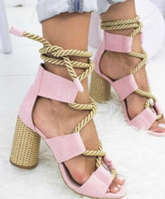 Load image into Gallery viewer, CASUAL SUEDE HIGH HEEL LACE UP SANDALS