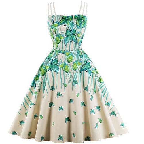 Women's Butterfly Print Strap Vintage Dress  (S-4XL)