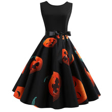 Load image into Gallery viewer, Halloween Pumpkin Print Sleeveless Vintage Dress