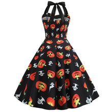 Load image into Gallery viewer, Halloween Pumpkin Ghost Print Buttons Halter Dress