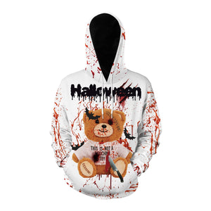 Horror 3D Blood Splashing Printed Hooded Couple Sweatshirt Hoodie