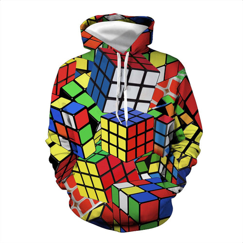 3D Rubik's Cube Printed Men Hooded Sweatshirt Casual Hoodie