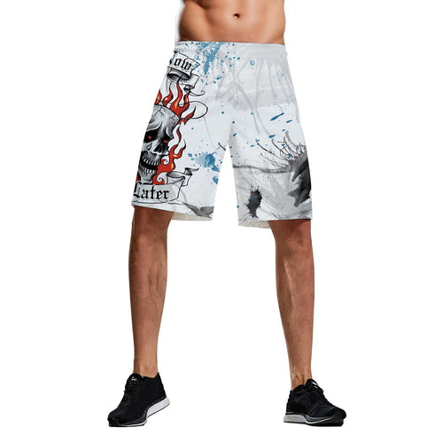 Halloween D Skull Digital Print Men's Casual Vacation Shorts