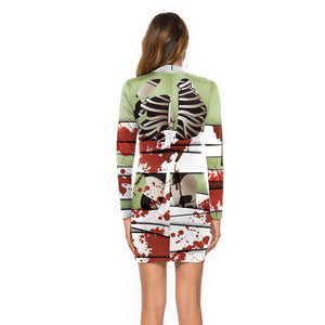 Halloween D Digital Print Long Sleeved Dress