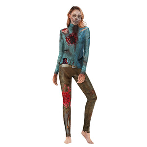 Halloween Horror Bloody Print Tight Zipper with Socks Jumpsuit