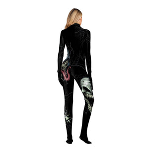 Halloween 3b Skull Print Tight Zipper with Socks Jumpsuit