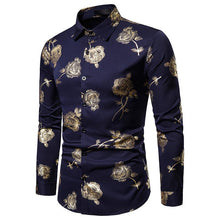 Load image into Gallery viewer, Nightclub Men's Lapel Rose Hot Stamping Slim Long Sleeve Shirt