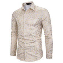 Load image into Gallery viewer, Men's Nightclub Lapel Cashew Flower Hot Stamping Long Sleeve Shirt