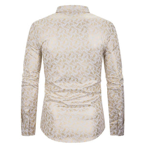 Men's Nightclub Lapel Cashew Flower Hot Stamping Long Sleeve Shirt