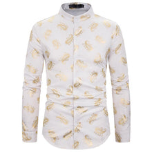 Load image into Gallery viewer, Casual Men's Fashion Henry Collar Design Shirt Cashew Flower Hot Stamping Long Sleeve Shirt