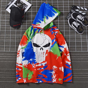 Halloween 3D Graffiti Skull Digital Print Men's Hoodie