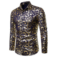 Load image into Gallery viewer, Nightclub Casual Men's Fashion Lapel Design Shirt Hot Stamping Long Sleeve Shirt