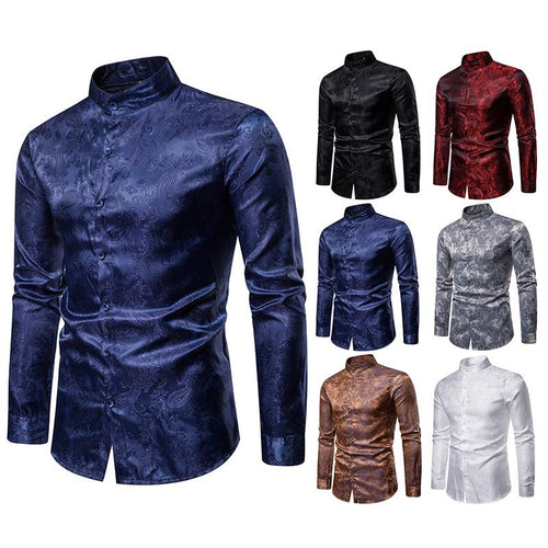 Men's Fashion Casual Cashew Flower Premium Lapel Long Sleeve Shirt