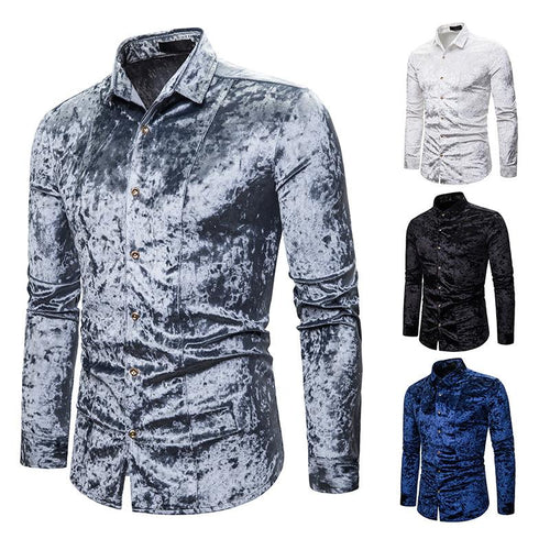 Men's Fashion Casual Fashion Diamond Satin Upscale Lapel Long Sleeve Shirt