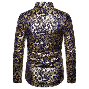 Nightclub Casual Men's Fashion Lapel Design Shirt Hot Stamping Long Sleeve Shirt