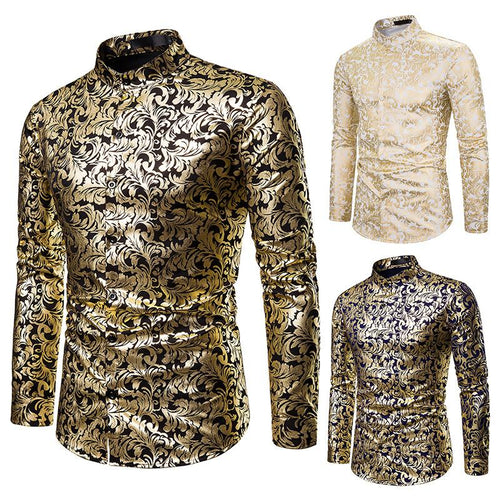 Nightclub Casual Men's Fashion Henry Collar Design Shirt Hot Stamping Long-sleeved Shirt