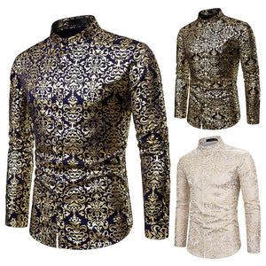 Nightclub Casual Men's Fashion Henry Collar Design Shirt Hot Stamping Long Sleeve Shirt