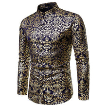 Load image into Gallery viewer, Nightclub Casual Men's Fashion Henry Collar Design Shirt Hot Stamping Long Sleeve Shirt