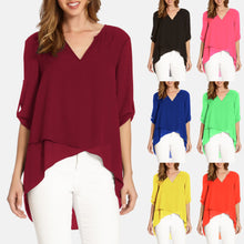 Load image into Gallery viewer, V-neck Cropped Sleeves Irregular Loose Chiffon Shirt