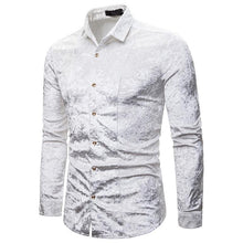 Load image into Gallery viewer, Men's Fashion Casual Fashion Diamond Satin Upscale Lapel Long Sleeve Shirt