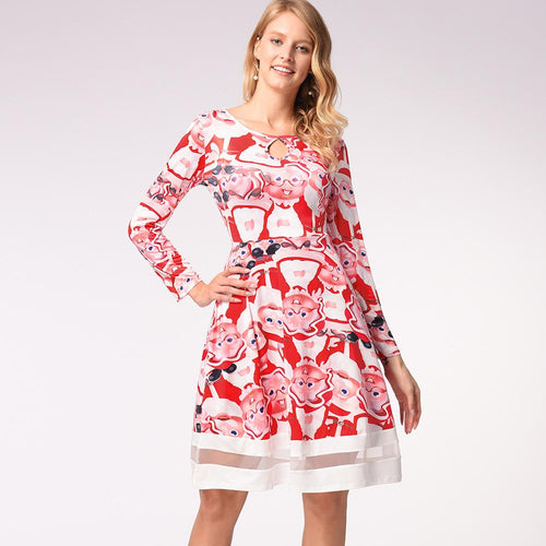 Christmas Cartoon Print Long Sleeve Dress