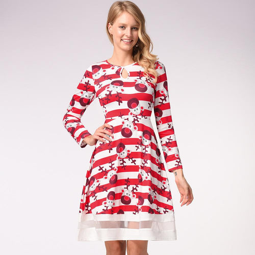 Funny Reindeer Print Long Sleeve Christmas Dress